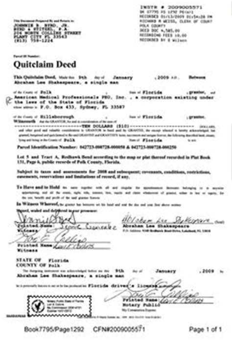 polk county attorney forms quitclaim deed printable pdf download template sle