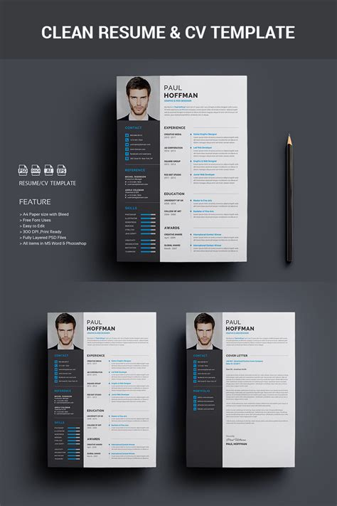 premium resumecv paul hoffman resume template