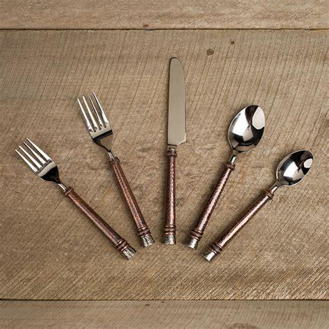 hammered flatware 20pc copper dinnerware brass steel piece ep