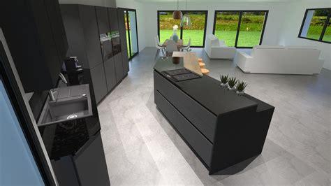 meuble de cuisine avec plan de travail cuisine gris anthracite bois et cuivre avec îlot design