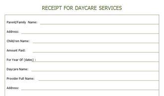 receipt  year  daycare services