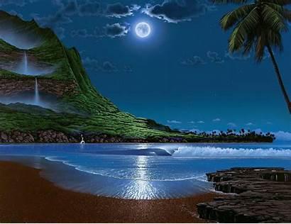 Under Moon Waterfalls Wallpapers Sea Island Ocean