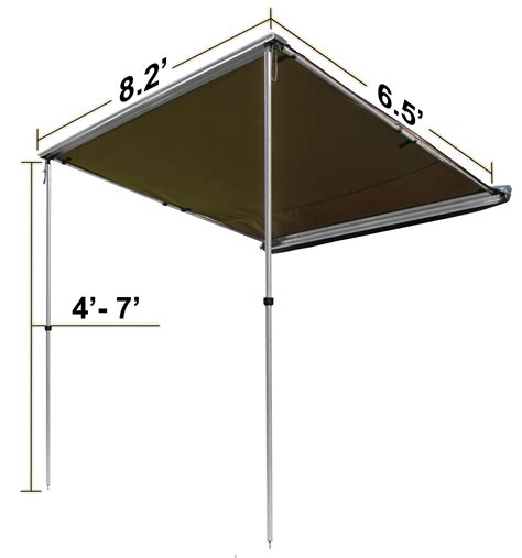 offgrid retractable sun shade pull  roof top awning shelter ft  ft ebay