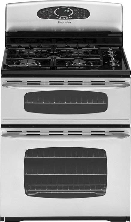 maytag gemini series mgrads  freestanding gas double oven range stainless steel