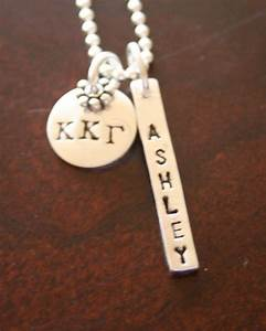This personalized sterling silver necklace hand stamped for Sorority necklaces letters