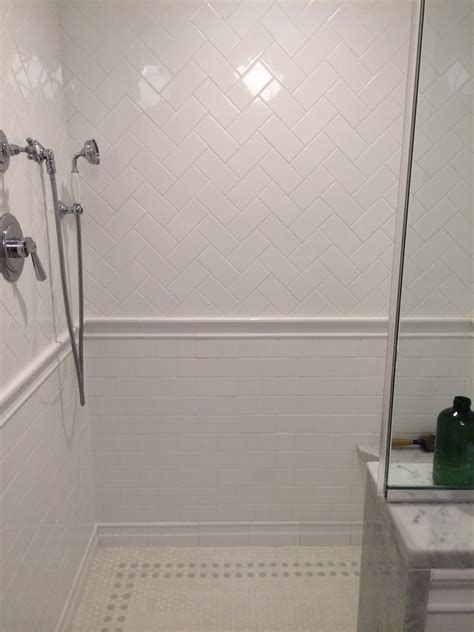 subway floor herringbone subway tile bathrooms pinterest