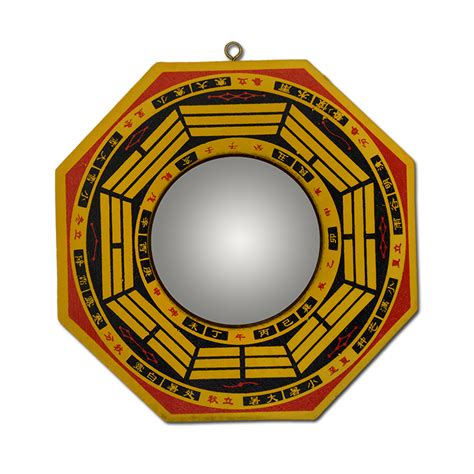floor mirror feng shui feng shui yellow wood concave convex bagua mirror wall hanging the 8 hexagrams mirror