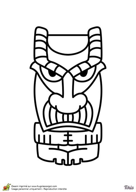 Dessin à colorier d'un tiki à moustache - Hugolescargot.com