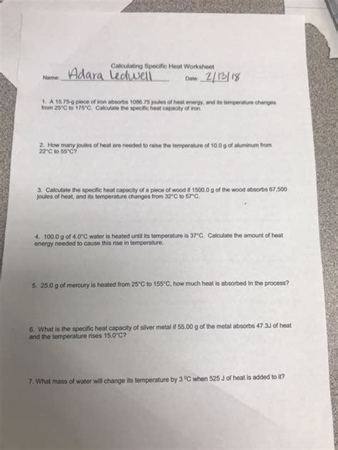 solved calculating specific heat worksheet name dar 1 a chegg com