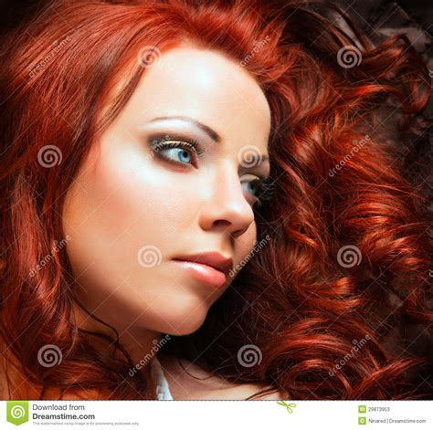 beautiful sexy woman  red hair stock  image
