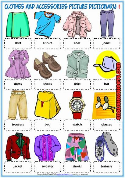 Clothes Dictionary Esl Worksheets