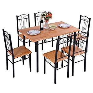 amazon kitchen furniture amazon com 6pcs chair steel frame dining set table and