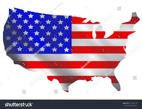 Usa Flag In A Shape Of Usa Borders Stock Photo 215204110