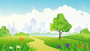 Nature clipart park background - Pencil and in color ...