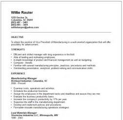 manufacturing resume objective resume format resume exles manufacturing