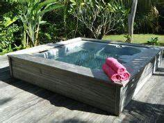 very beautiful round small hot tub outdoor deck decoration With whirlpool garten mit bonsai 50 years old