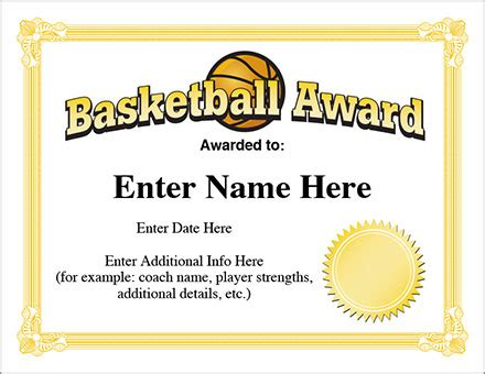 basketball award template hoops certificates