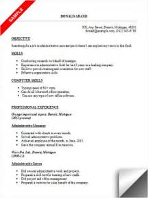 typing the word resume administrative assistant resume sle