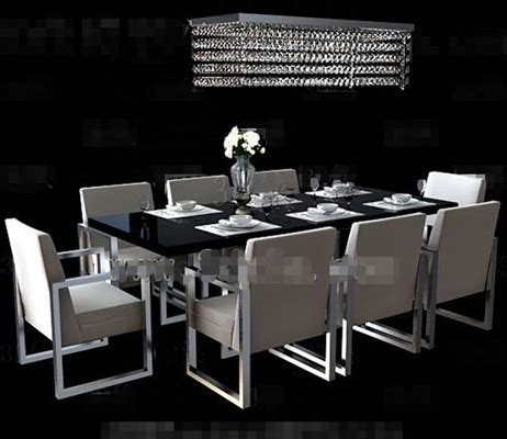 Long Black Dining Table Combination 3d Model Download,free