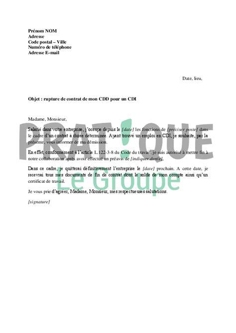 modele lettre de fin de collaboration lettre de rupture d un poste en cdd pour un poste en cdi