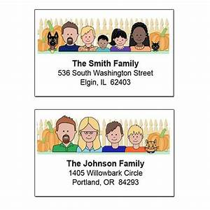 cartoon family return address labels fall theme mandys With caricature address labels