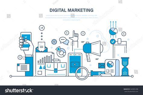 Concept Illustration Digital Marketing Media Planning