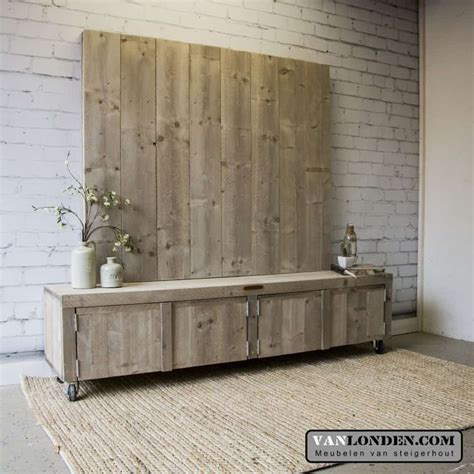 tv wand steigerhout steigerhouten tv meubel met wand josien vanlonden