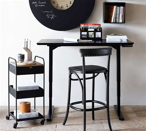pottery barn printer s desk printer 39 s sit stand electric adjustable desk pottery barn