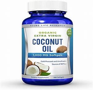 Coconut Oil Capsules - 1000 Mg Organic Extra Virgin - 180 Softgels
