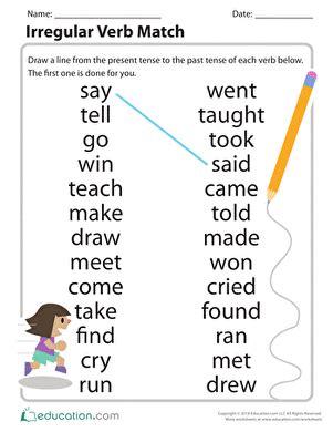 grammar time irregular verbs worksheet education com