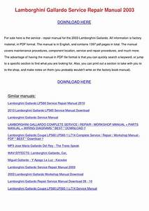 Lamborghini Gallardo Service Repair Manual 20 By Elliotdenny