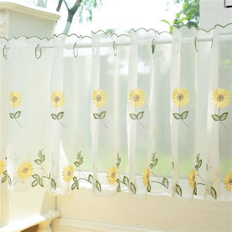 white kitchen curtains with sunflowers popular sunflower valance kitchen curtains buy cheap