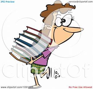 Clipart Librarian Or Heavy Reader Carrying A Large Stack