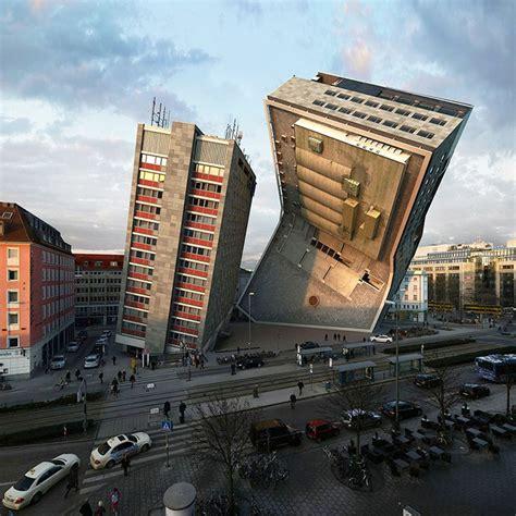 victor enrich twists  bends buildings  contorted