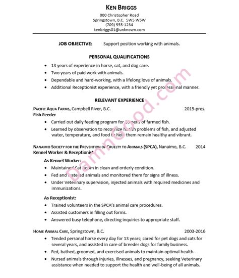 Resume Objective For Kennel Assistant