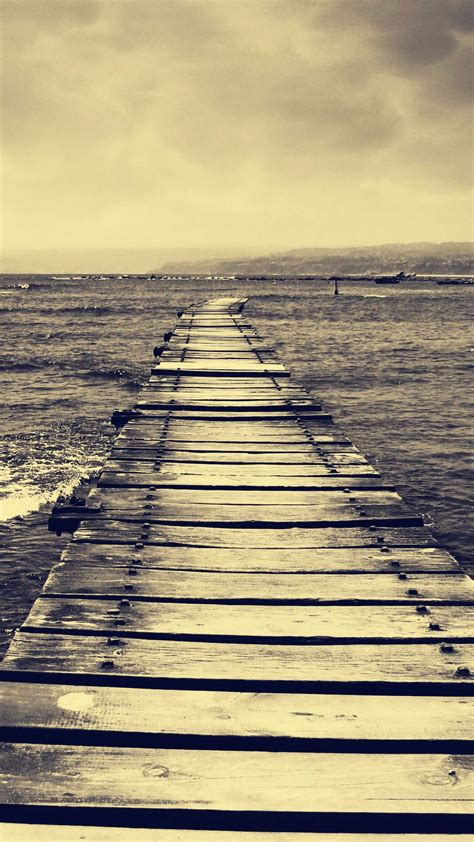 vintage sepia dock  sea android wallpaper