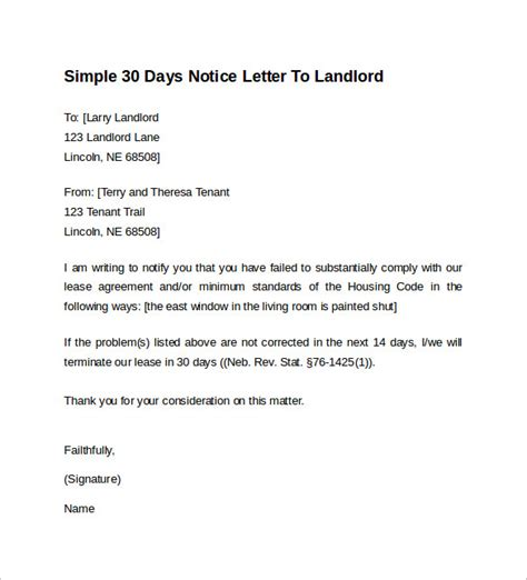 Renters 30 Day Notice Template by 9 Sle 30 Days Notice Letters To Landlord In Word