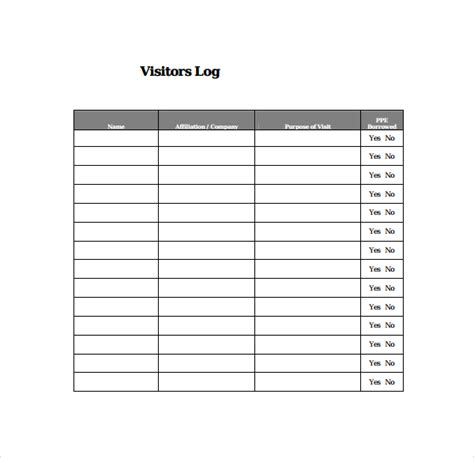 visitor log template 9 visitors log templates pdf word sle templates