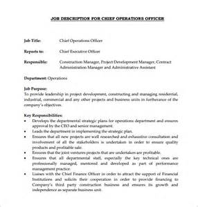 Bank Chief Operating Officer Resume by Chief Operating Officer Description Anuvrat Info