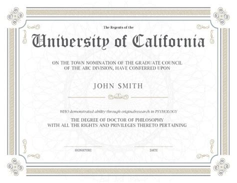 Certificate Programs Free by 11 Free Printable Degree Certificates Templates Hloom