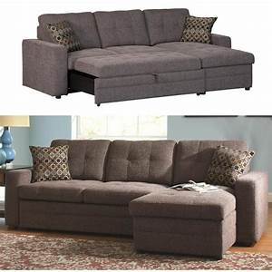 coaster gus charcoal chenille upholstery small sectional With basement sofa bed