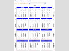Image of adjustable and printable Excel Calendar 12