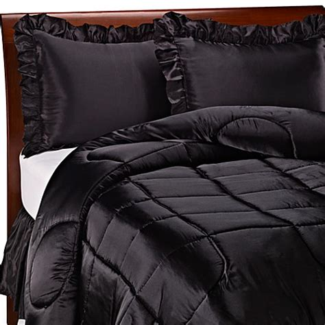 charmeuse black satin comforter set bed bath beyond