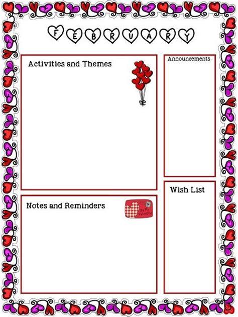 february newsletter template valentines