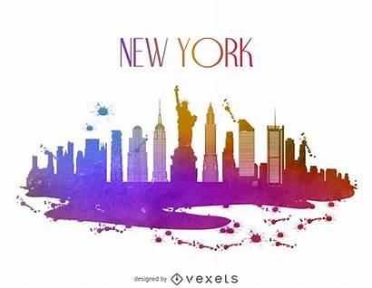 Skyline York Watercolor Vector Vexels Vectors Graphic