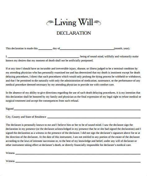 Downloadable Will Template by 8 Living Will Sles Sle Templates