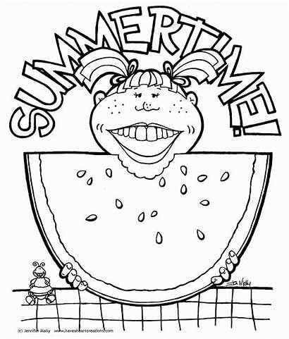 Coloring Watermelon Wassermelone Summertime Ausmalbilder Popular Card