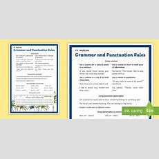 * New * Y5 Naplan Grammar & Punctuation Rules Poster