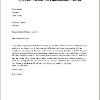 cancellation letter  guest speaker invitation