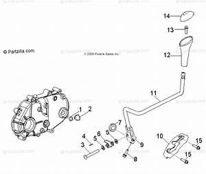 Polaris Atv 2012 Oem Parts Diagram For Drive Train  Transmission Shift Lever